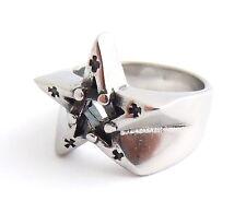 Men's Ladies Pentagram Gothic Ring Silver Stainless Steel Wiccan Star Jewellery