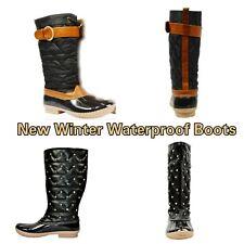 New Women's Stylish Duck Boots Water Proof Black/Brown Winter, Rain Boots Warm