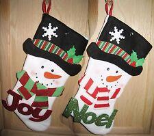 "18-in White ""JOY"" or ""NOEL"" Themed Snowman w/Black Hat/Scarf Christmas Stocking"