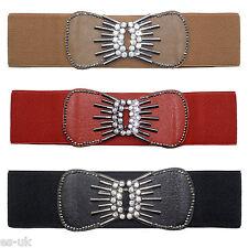 pour femmes Strass Élastique Taille CEINTURE ONE SIZE FITS 6-14 marron rouge