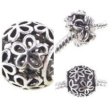 Flower Floral Charm Antique Silver Plated Filigree Bead for European Bracelet