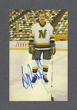 Brad Maxwell signed Minnesota North Stars 1984-85 team issued postcard
