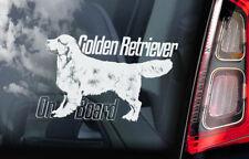 Golden Retriever on Board - Car Window Sticker - Gun Guide Dog Sign Decal - V04