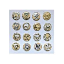 "1.25"" Pinback / Fridge Magnet / Flatback Button Gothic Biker Skull 'Buy 2 Get 2'"