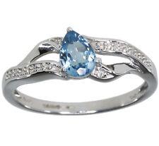 Blue Topaz Pear Gemstone Diamond 14ct White Gold Ring