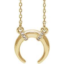 14k Yellow Gold 0.03 CTW Diamond Crescent Necklace