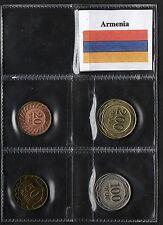 ARMENIA 4 COINS SET 4 MONETE BELLISSIME FDC ALTI VALORI MONETE RARE + BANDIERA