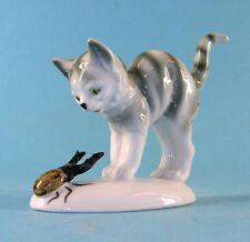 Erschrockene Porzellan - Katze mit Käfer Gräfenthal 2. Wahl  9943057