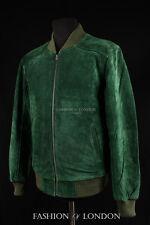 Men's PLAIN SEVENTIES BOMBER Green Suede Classic 70's Short Hide Leather Jacket