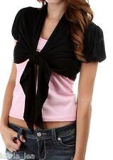 Black Cap Sleeve Tie Front Cropped Bolero Shrug Cardigan/Wrap/Cover-Up