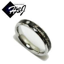 Men's Women's Stainless Steel 3.5mm Black Silver *Forever Love*Wedding Band Ring