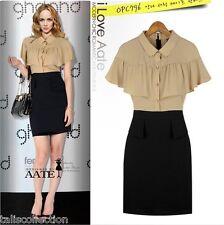 Shirt Dress w/ Bodycon Skirt in Beige & Black or White & Light Brown 6017