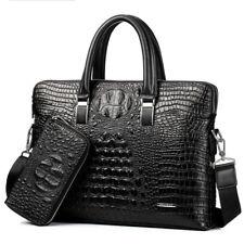 Alligator Grain Business Men's Leather Handbag Briefcase Bag Laptop Shoulder Bag