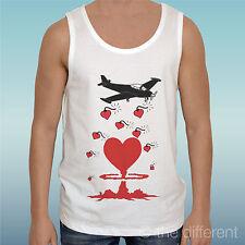 """CANOTTA T-SHIRT """"AEREO BOMBE CUORE HEART BOMB """"IDEA REGALO ROAD TO HAPPINESS"""