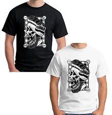 Velocitee Herren Hipster Skull T Shirt Friseursalon Rebel knallhart Barbers v59