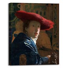 Vermeer ragazza cappello rosso quadro stampa tela dipinto telaio arredo casa