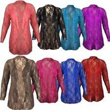Womens Waterfall Plus Size Boyfriend Floral Lace Long Sleeve Cardigan Top 14-28