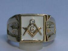 Masonic Mason White Enamel Compasses Clear Austrian Crystal Men's Ring Size 7-15