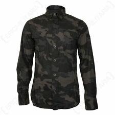 Brandit Slim Fit Shirt - Dark Camo - Casual Top Long Sleeve Military Army