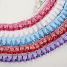 "1 3 5 Yards 2-Layer Ruffle Gathered Lace Pleated Trim Ribbon Trimming 0.98"""