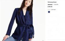 NWT £185 Designer J.CREW Wrap Blazer Jacket in StILK  Dark French Navy  M  L