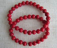 Genuine rosso perline di corallo Braccialetti, buona qualità. 8 mm-unisex.