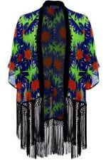 donna chiffon stampa floreale Bagliore manica Nappa aperto avanti giacca kimono