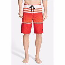 New O'NEILL boardshorts HYPERFREAK  Heist orange red stripe sz 32 33 36