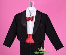 5 Pcs Set Boy Formal Wedding Suit Tuxedo Tail Page Boy Christening Sz 0-9 BV11