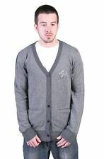 Tavik Mens carbone grigio a righe Roger LEGGERO COTONE maglione cardigan
