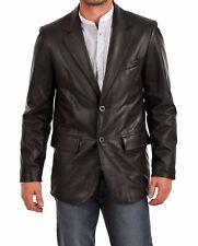 New Men's Genuine Soft Lambskin Leather Blazer Jacket TWO BUTTON Mens Coat LB38