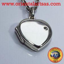 Ciondolo Portafoto cuore con zircone in argento 925 ‰