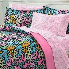 ULTRA SOFT PINK LEOPARD DOTS BLUE TEAL GIRL BED IN BAG COMFORTER SET & SHEETS
