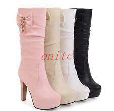 Womens High Heels Bowknot Platform Mid Calf Boots Tassels Pleated Shoes Boot US