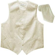 New Men's Formal Vest Tuxedo Waistcoat_necktie paisley pattern wedding ivory