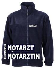 Notarzt Fleece Jacke / navy mit Brust- und Rückenaufdruck in weiß *