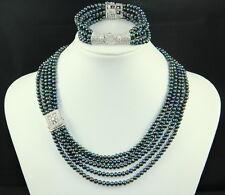 Authentic Freshwater Pearl 5 Strings Black White Necklace Bracelet Set CZ Stones