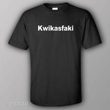 Rude offensive T-shirt KWIKASFAKI motorbike parody bike motorcycle