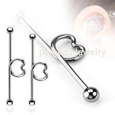 "14G~1 & 1/2"" (38mm) Steel Industrial Barbell w/ Heart shape in the middle"