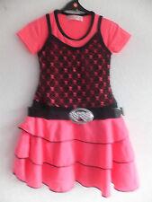 Nuevo CHICAS Rara Vestido Correa Y Hebilla Boda Fiesta Neon rosa/negro. Tallas 2-8 Años