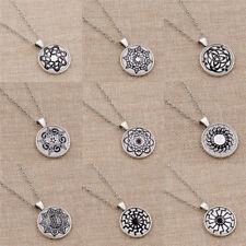 Celtic Silver Graph Necklace Metal Chain Elegant Glass Pendant Jewelry Fashion