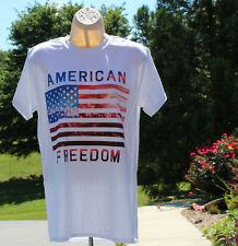 Gildan white t-shirt patriotic American Freedom  American Flag NWT