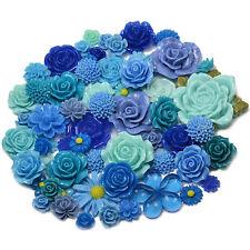 BLUE SET Resin Flatback Flower Rose Cabochon Craft Embellishments Decoden Gems