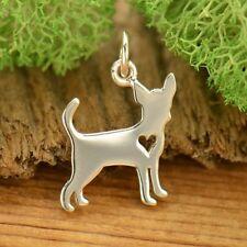 Chihuahua Dog Charm Heart Vet Groomer Gift Pendant 925 Sterling Silver 1695