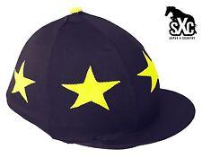 CUSTOM Equitazione Cappello SETA Skull Cap Coperchio Blu Navy con stelle gialle POMPOM SXC