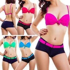 Bikini donna costume da bagno mare piscina shorts bicolore taglie curvy QD202