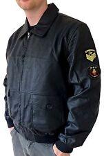 MEN'S US ARMY STYLE BOMBER JACKET COAT BLACK WITH BADGES UK SIZE LARGE -2XL