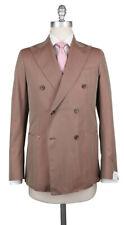 New $3300 Luigi Borrelli Light Brown Cotton Solid Suit - (LBDP175160R8)