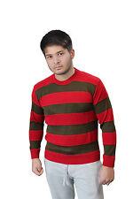 Men's Freddy KRUEGER Red & Green Stripe Knitted Jumper Halloween Fancy Dress