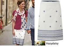 White Stuff Native Island embroidered summer skirt 8 10 12 cotton linen